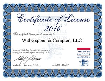 ALTA License 2016 | Witherspoon & Crompton, LLC